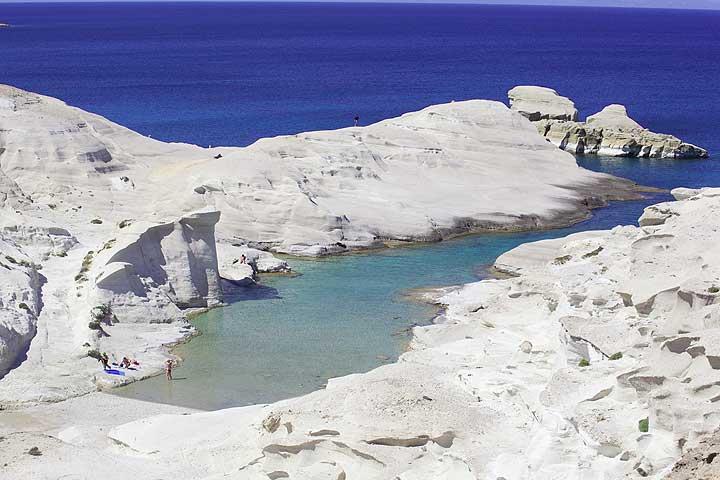 The famous Sarakiniko-Bay on Milos island. (c) Tom Pfeiffer