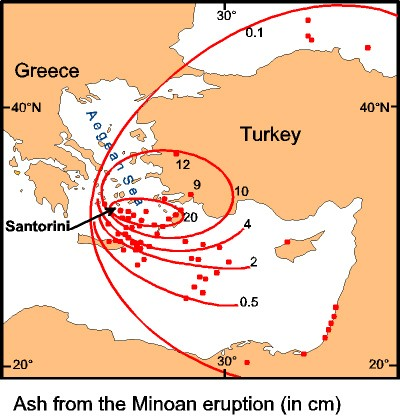 Distribution of the Minoan ash
