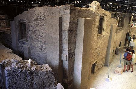 Ruins of the Minoan city buried on Santorini near the village of Akrotiri