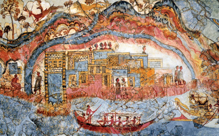 The famous ship fresco - a wall painting from the Minoan city possibly representing the island with its caldera at the time before the eruption.