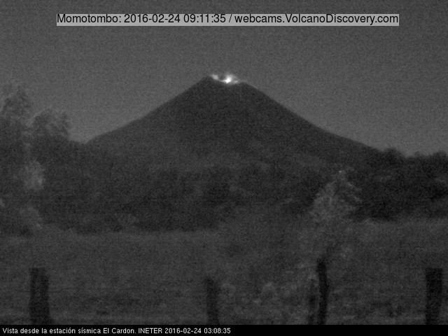 Glow from Momotombo's summit crater this morning