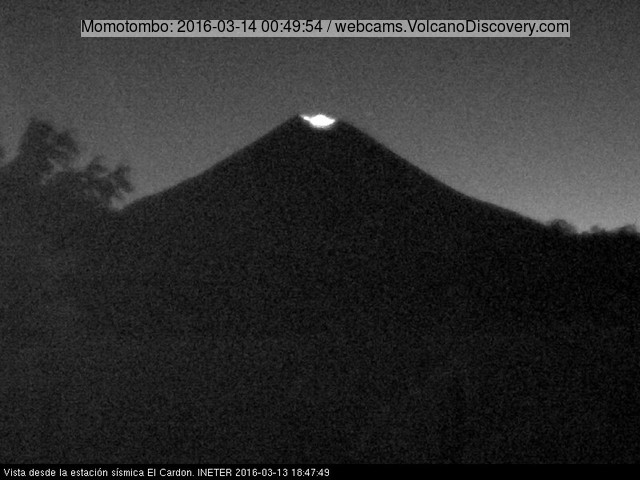 Momotombo volcano's glow yesterday evening