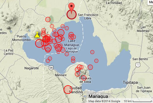 Recent earthquakes near Momotombo volcano (past 24 hours)