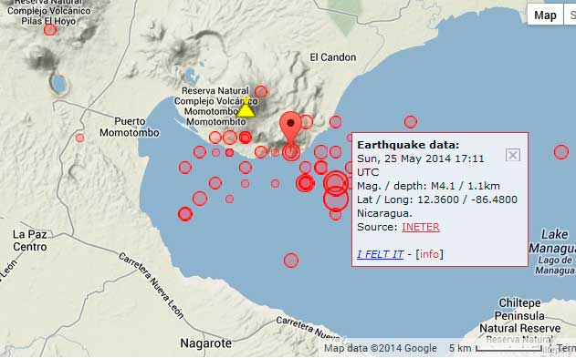 Map of recent earthquakes at Momotombo volcano