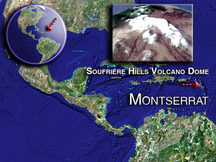 Soufriére Hills volcano dome satellite image by (c) Google Earth View