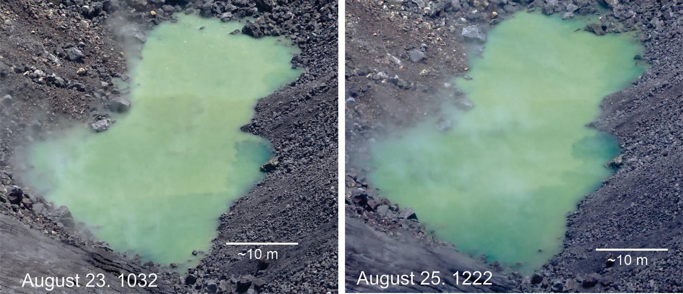 The crater lake in Kilauea's Halema'uma'u crater (image: HVO / USGS)