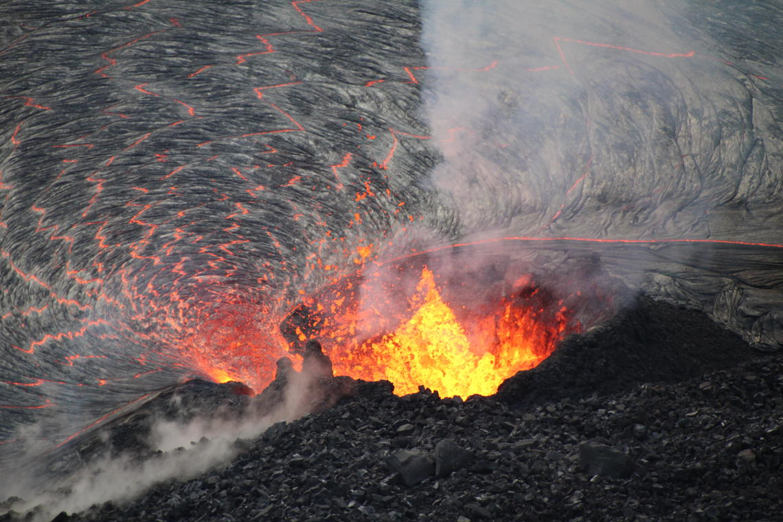 Close-up view of the lava fountaining at the Kilauea lava lake on Oct 5, 2021 (image: HVO / USGS)