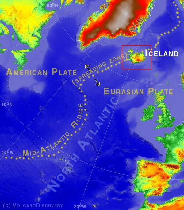 Localisation de l'Islande et de la ride médio-océanique Atlantique Nord où les plaques Américaine et Eurasienne se séparent