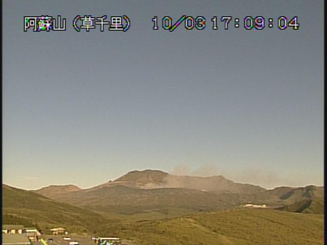 Weak ash plume rising from Aso's Nakadake crater this morning