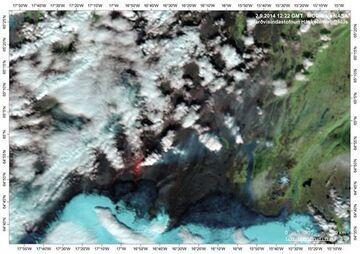 Satellite image of the eruption yesterday (NASA)