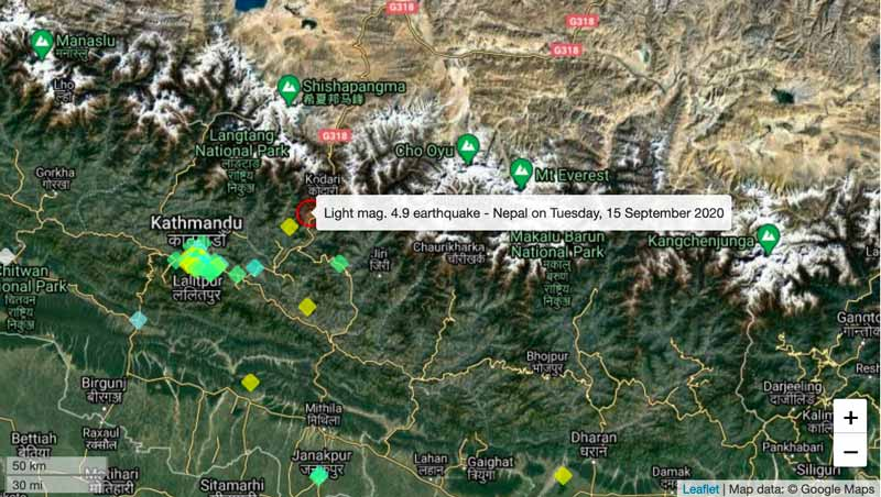 This morning's quake in Nepal and location of user reports of it