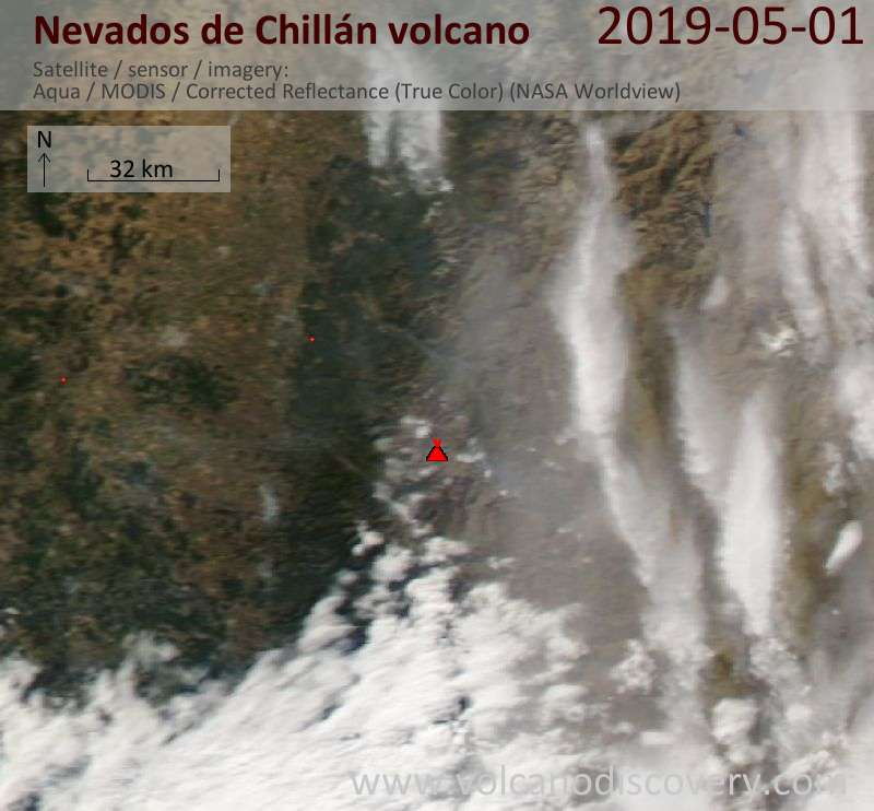Satellite image of Nevados de Chillán volcano on  1 May 2019