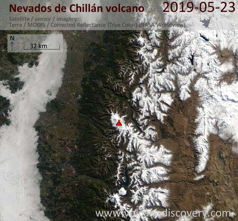 Satellite image of Nevados de Chillán volcano on 23 May 2019