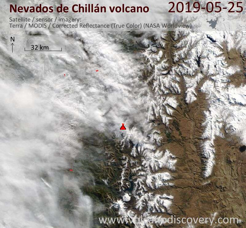 Satellite image of Nevados de Chillán volcano on 25 May 2019