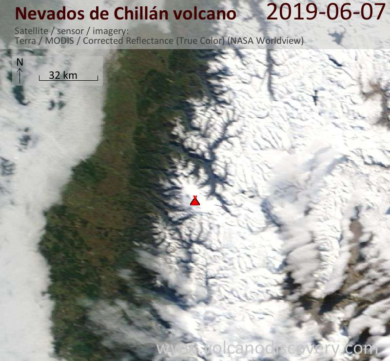 Satellite image of Nevados de Chillán volcano on  7 Jun 2019