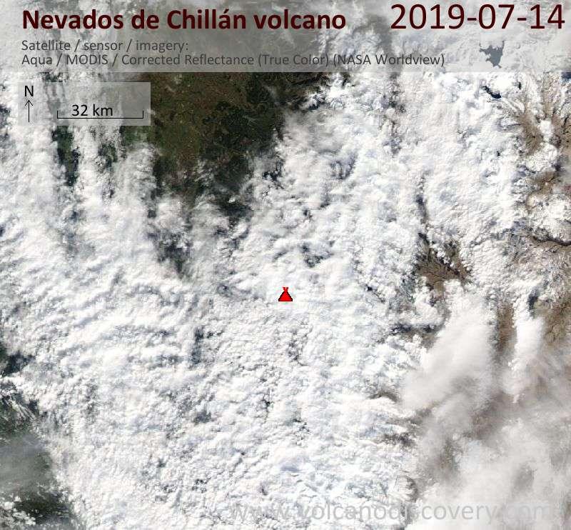 Satellite image of Nevados de Chillán volcano on 15 Jul 2019