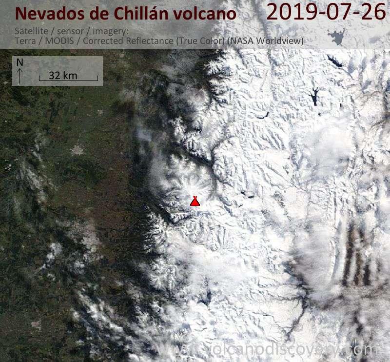 Satellitenbild des Nevados de Chillán Vulkans am 26 Jul 2019