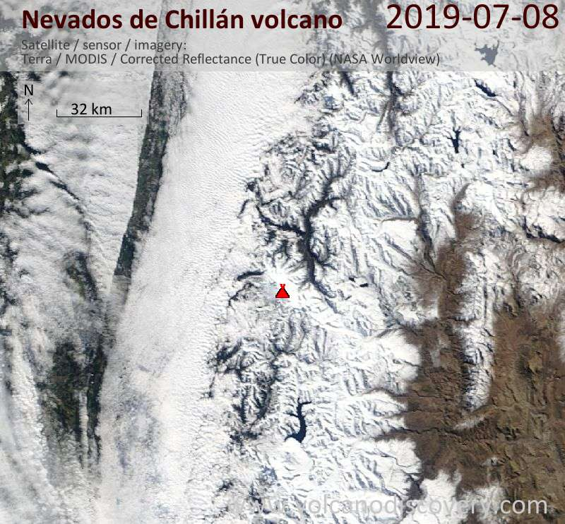 Satellitenbild des Nevados de Chillán Vulkans am  8 Jul 2019