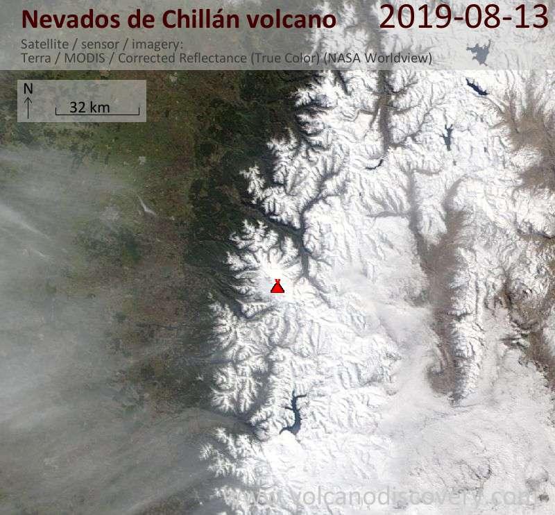 Спутниковое изображение вулкана Nevados de Chillán 13 Aug 2019
