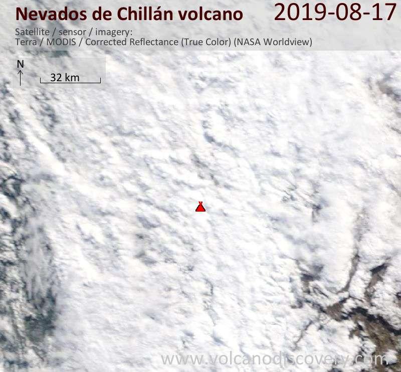 Спутниковое изображение вулкана Nevados de Chillán 17 Aug 2019