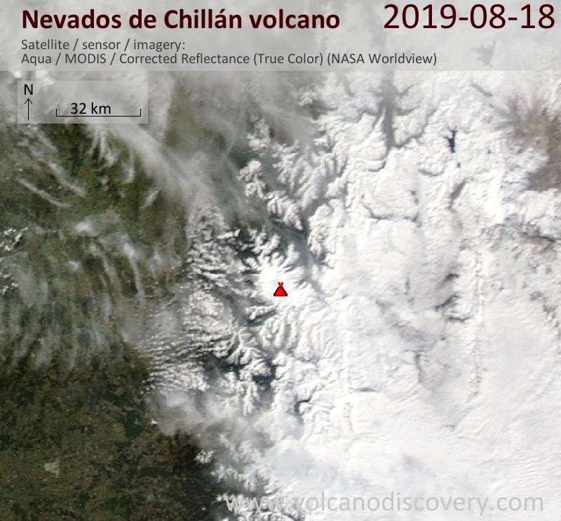 Satellite image of Nevados de Chillán volcano on 19 Aug 2019