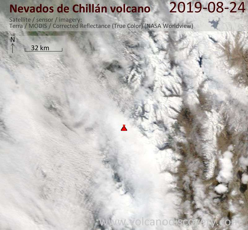 Satellitenbild des Nevados de Chillán Vulkans am 24 Aug 2019