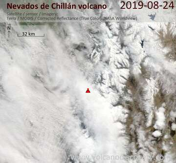 Satellite image of Nevados de Chillán volcano on 24 Aug 2019