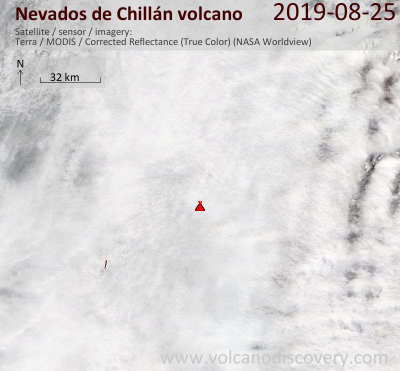 Satellitenbild des Nevados de Chillán Vulkans am 25 Aug 2019