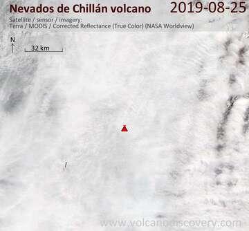 Satellite image of Nevados de Chillán volcano on 25 Aug 2019