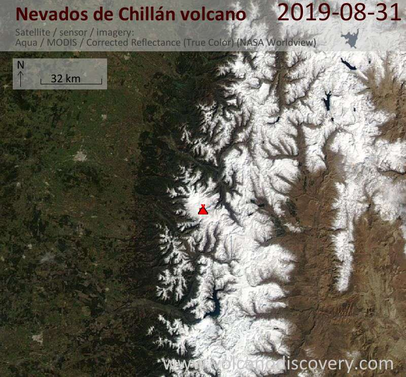 Satellite image of Nevados de Chillán volcano on  1 Sep 2019