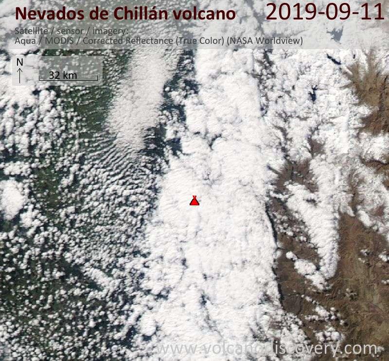 Satellite image of Nevados de Chillán volcano on 12 Sep 2019