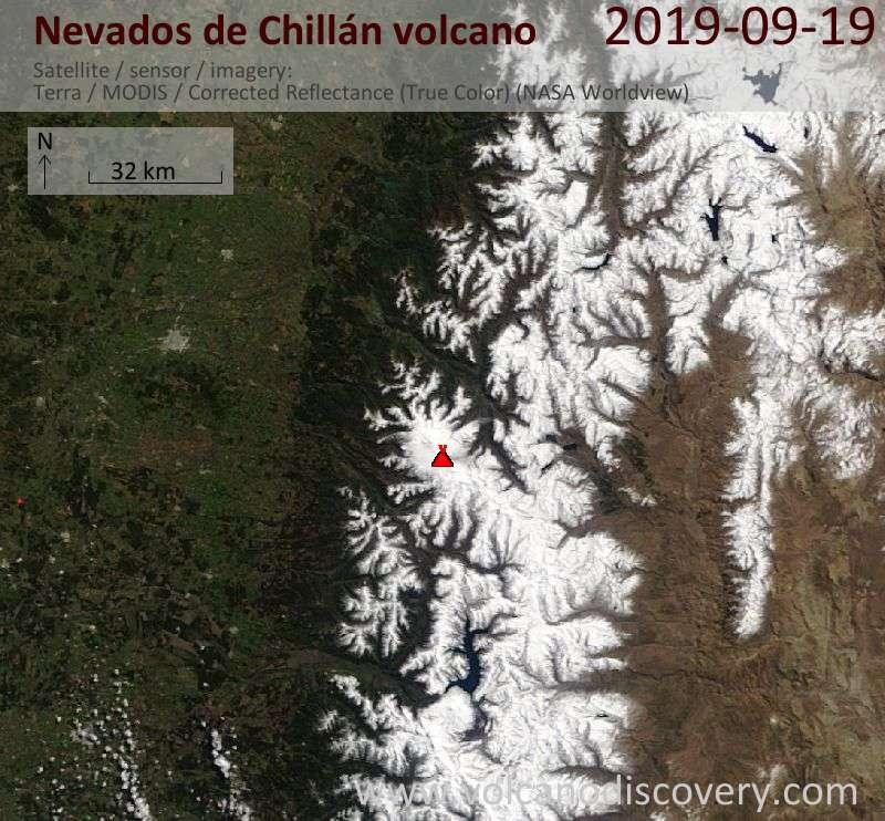 Satellite image of Nevados de Chillán volcano on 19 Sep 2019