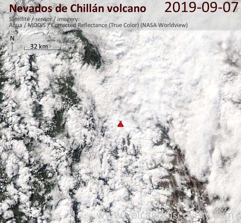 Satellite image of Nevados de Chillán volcano on  7 Sep 2019