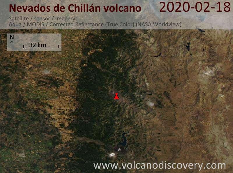 Satellitenbild des Nevados de Chillán Vulkans am 18 Feb 2020