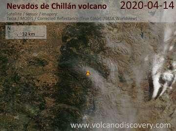 Satellite image of Nevados de Chillán volcano on 14 Apr 2020