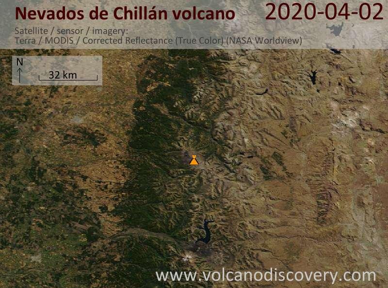 Satellite image of Nevados de Chillán volcano on  2 Apr 2020