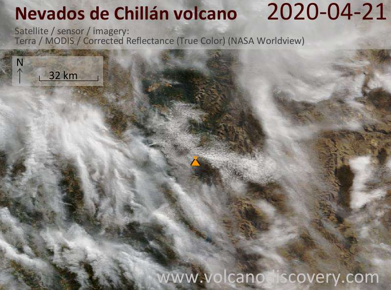 Satellite image of Nevados de Chillán volcano on 21 Apr 2020