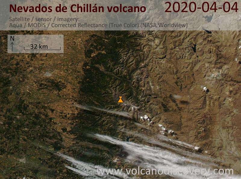 Satellite image of Nevados de Chillán volcano on  5 Apr 2020