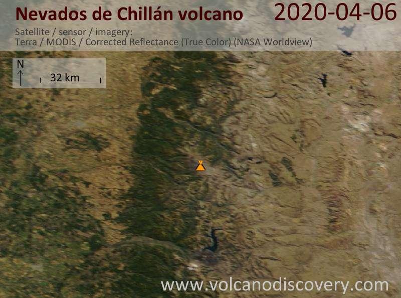 Satellite image of Nevados de Chillán volcano on  6 Apr 2020