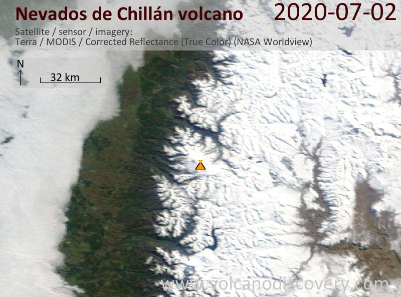 Satellite image of Nevados de Chillán volcano on  2 Jul 2020