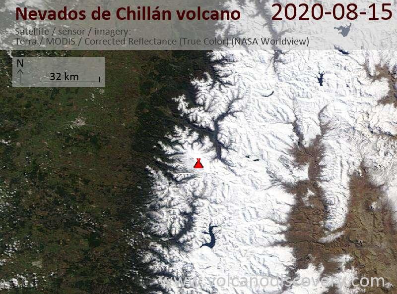 Satellite image of Nevados de Chillán volcano on 15 Aug 2020