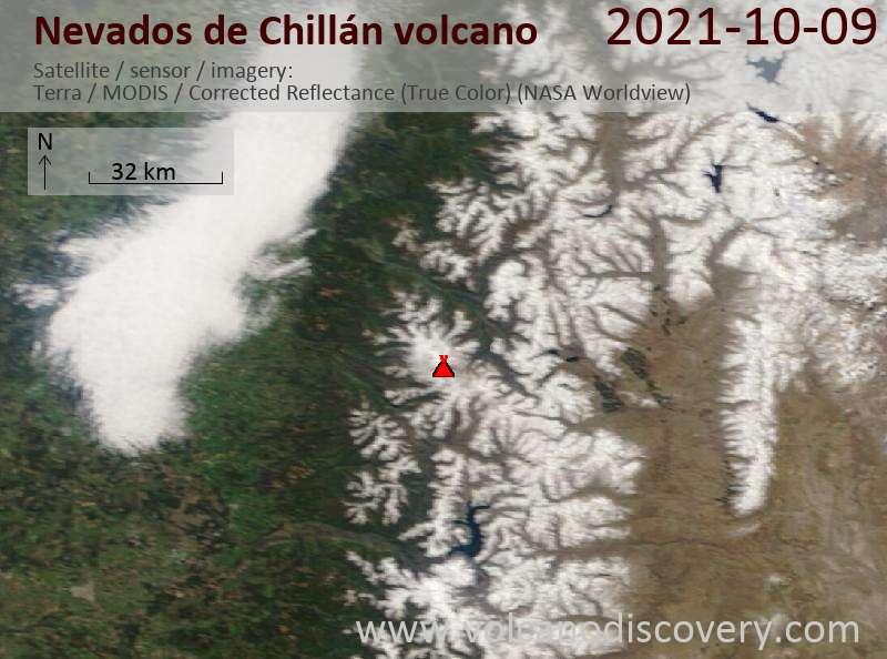 Satellite image of Nevados de Chillán volcano on 10 Oct 2021