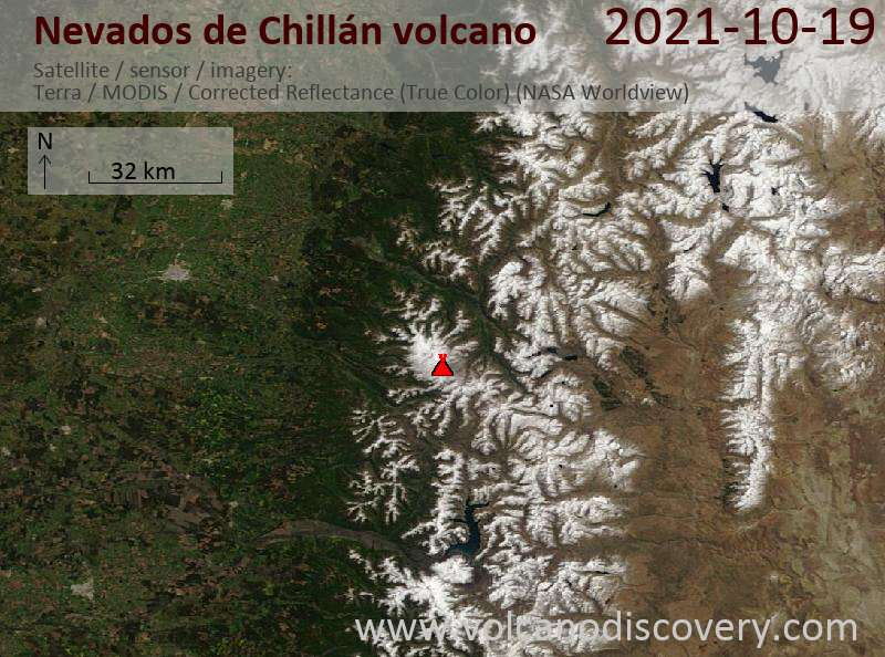 Satellite image of Nevados de Chillán volcano on 20 Oct 2021