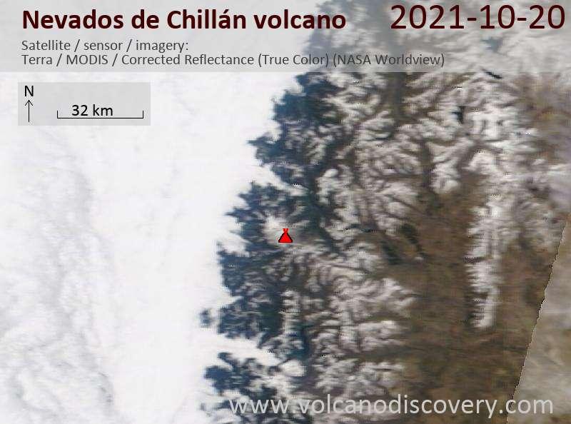 Спутниковое изображение вулкана Nevados de Chillán 21 Oct 2021