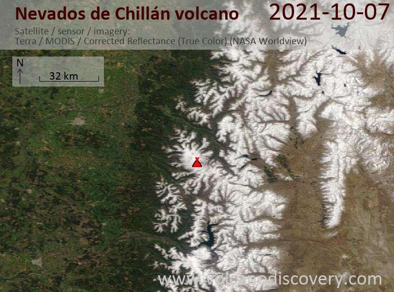Satellite image of Nevados de Chillán volcano on  7 Oct 2021