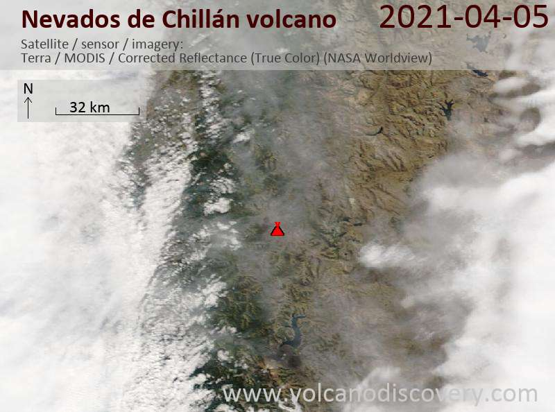 Satellitenbild des Nevados de Chillán Vulkans am  5 Apr 2021