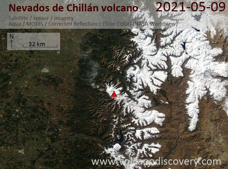 Satellite image of Nevados de Chillán volcano on 10 May 2021