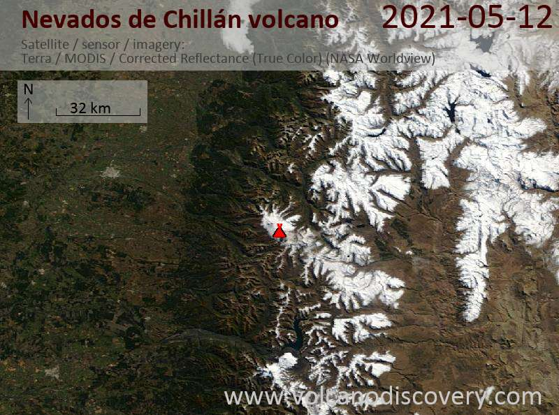 Satellite image of Nevados de Chillán volcano on 13 May 2021
