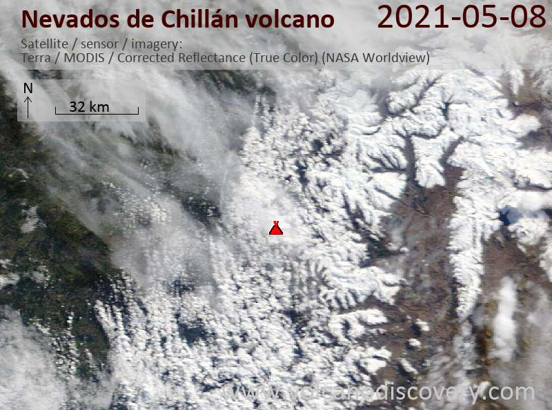 Satellite image of Nevados de Chillán volcano on  9 May 2021