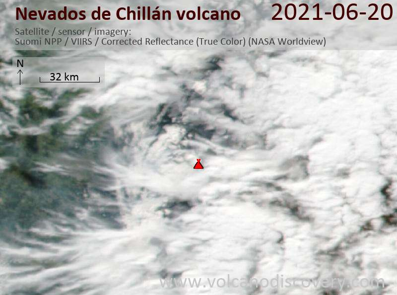 Спутниковое изображение вулкана Nevados de Chillán 21 Jun 2021